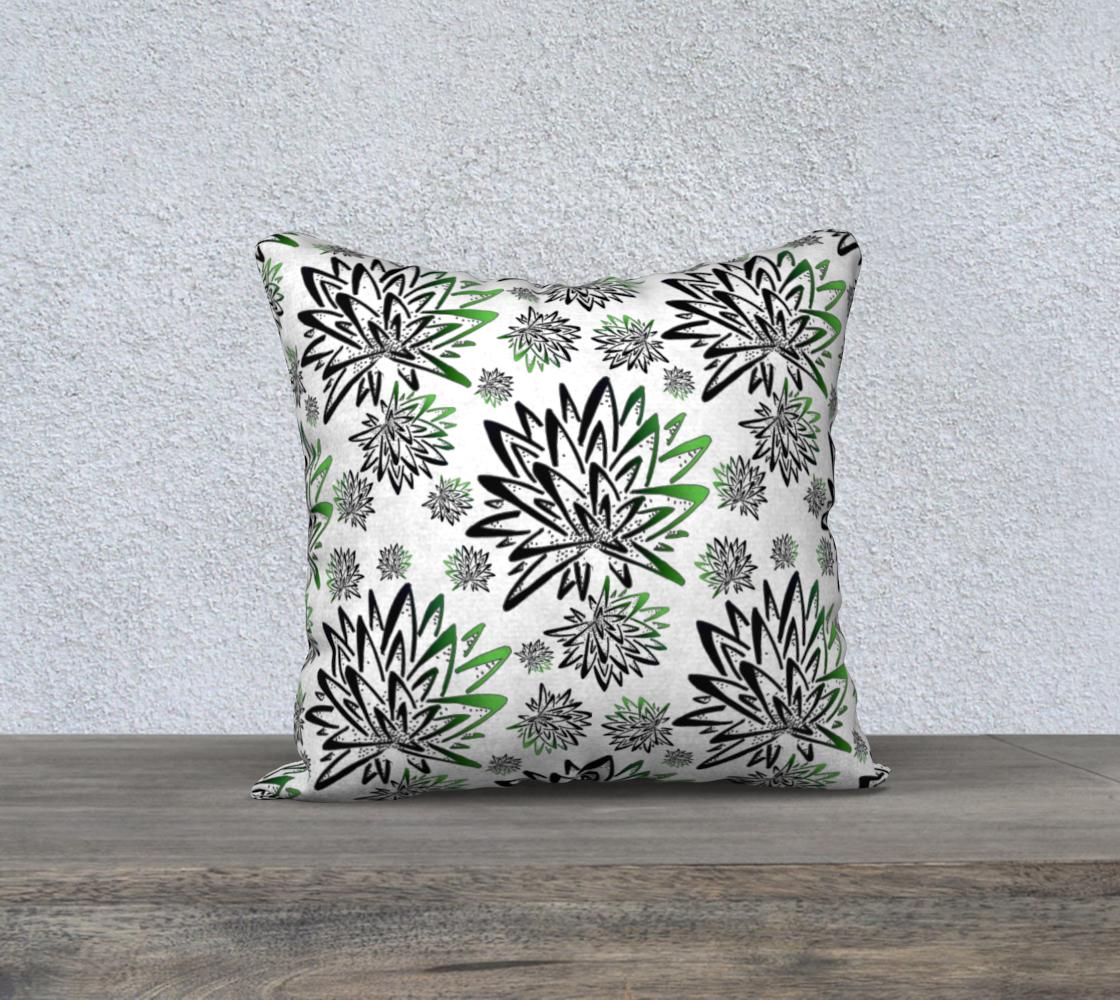 Aperçu de Abstract Green Thistles Pattern Pillow Case
