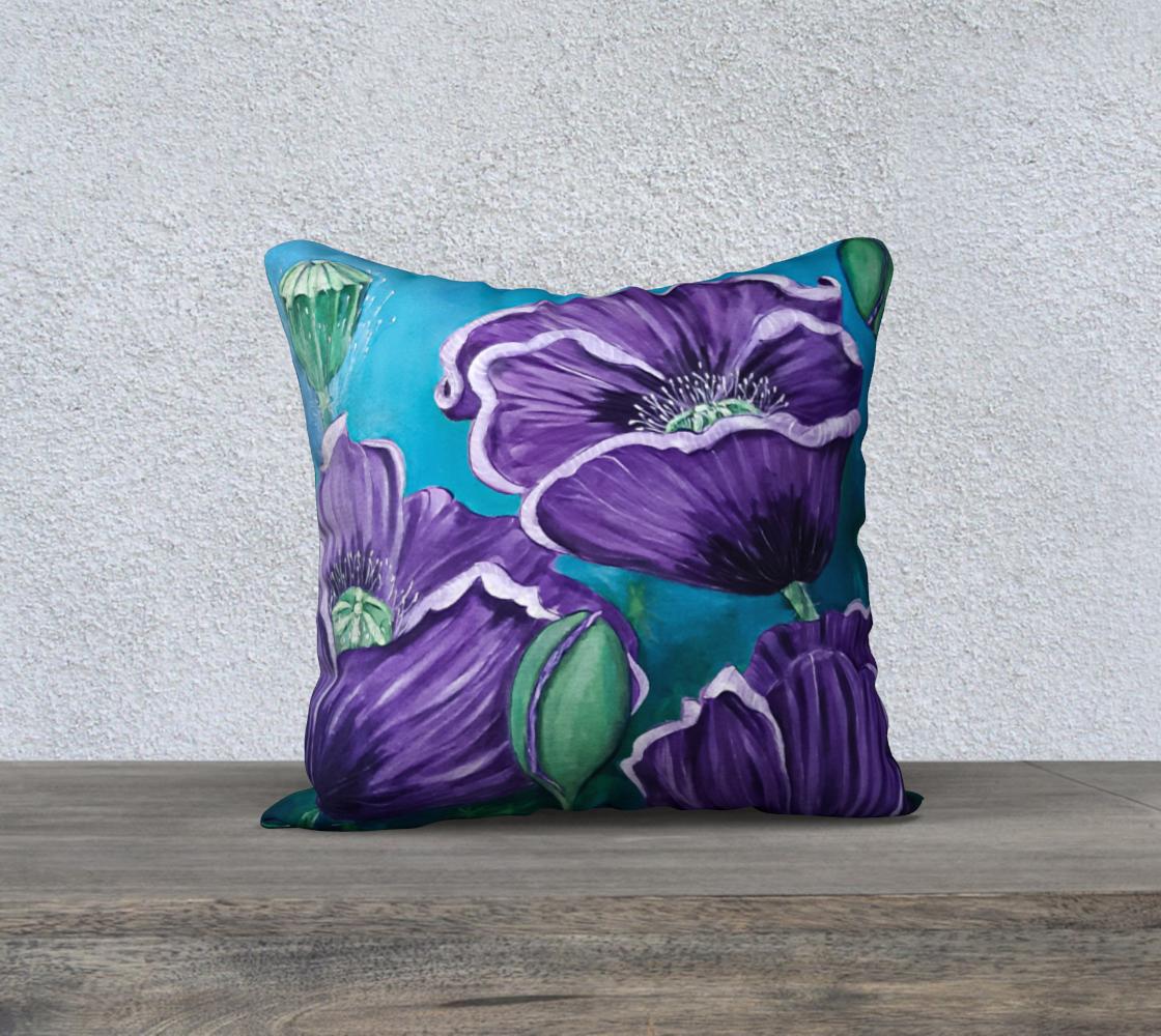Aperçu de Purple Poppies 18 x 18 Pillow Case
