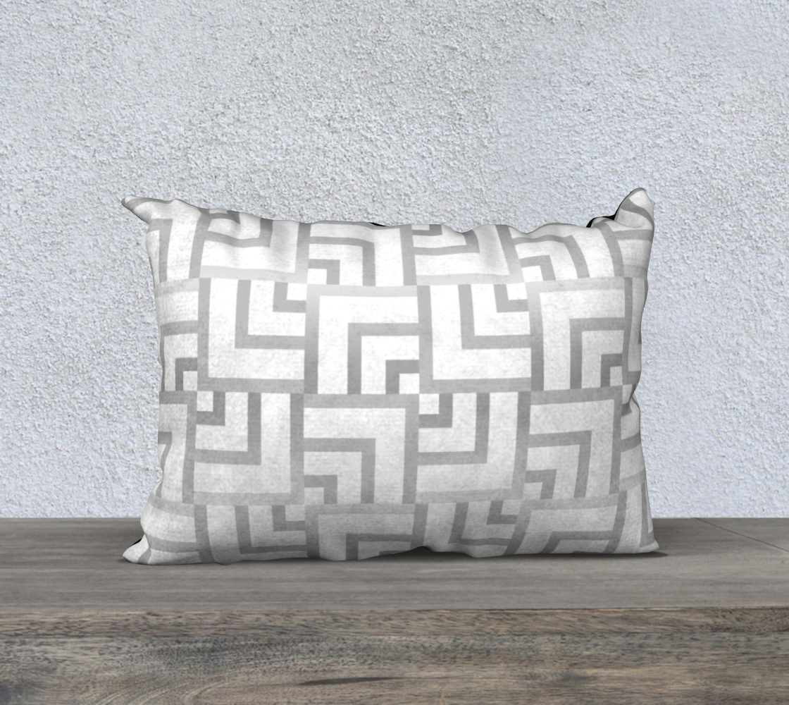 "White and Silver Squares 20"" x 14"" Pillow Case preview"