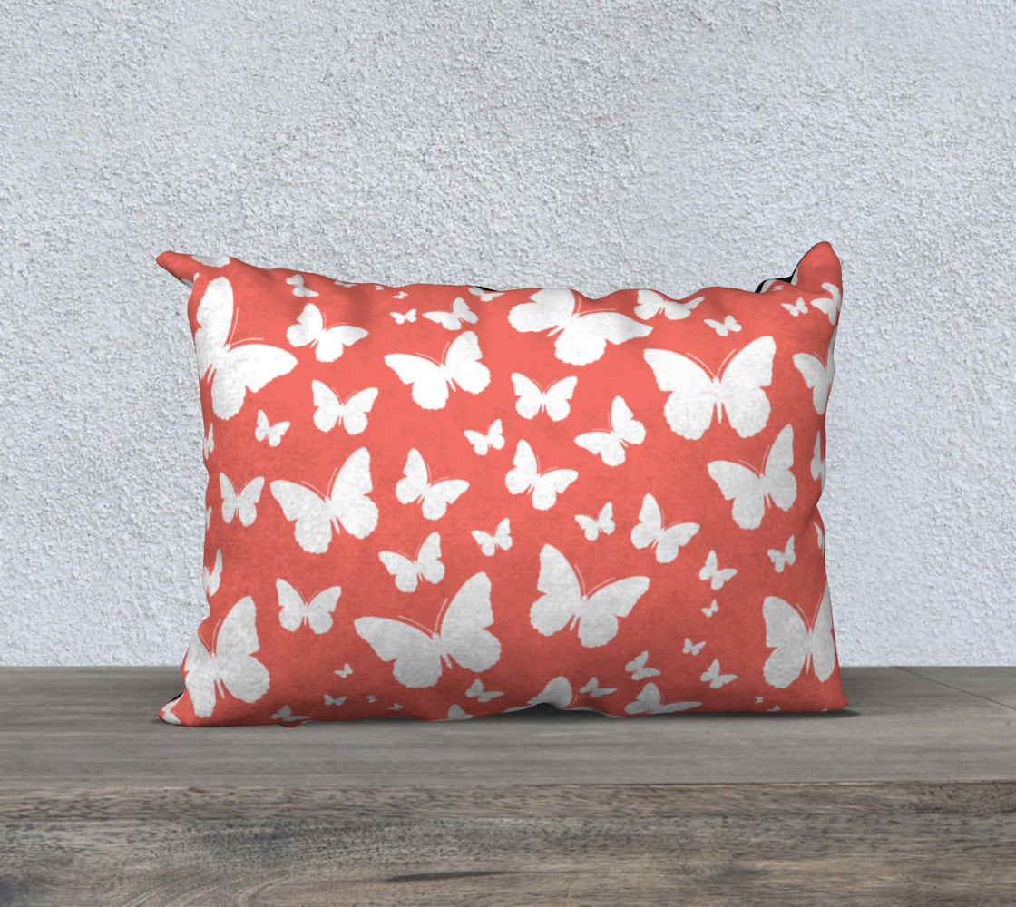 Butterflies in Coral and White Pillow Case 20 preview