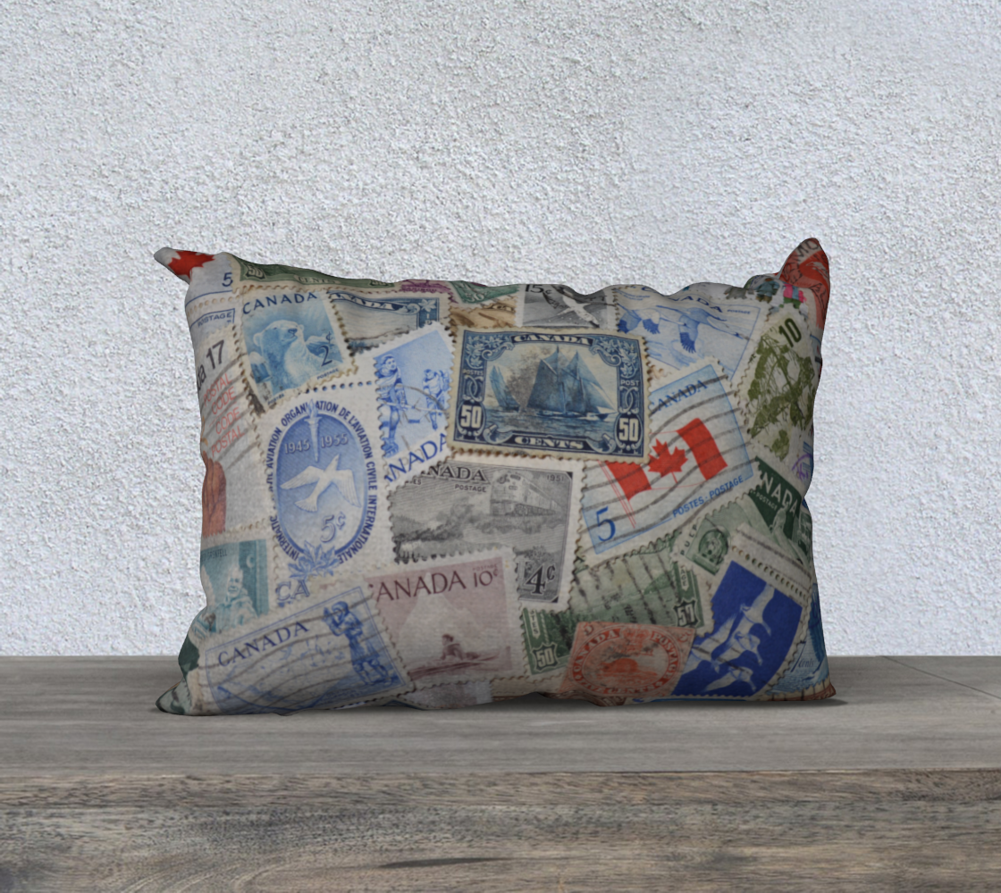 Aperçu de Canadian Stamps Lumbar Pillow