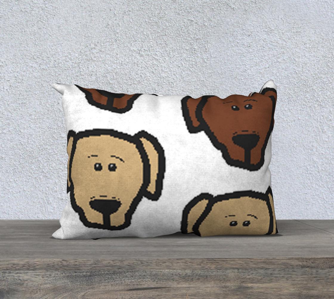 Labrador Retriever all 3 colors cartoon heads 20 x 14 pillow case preview