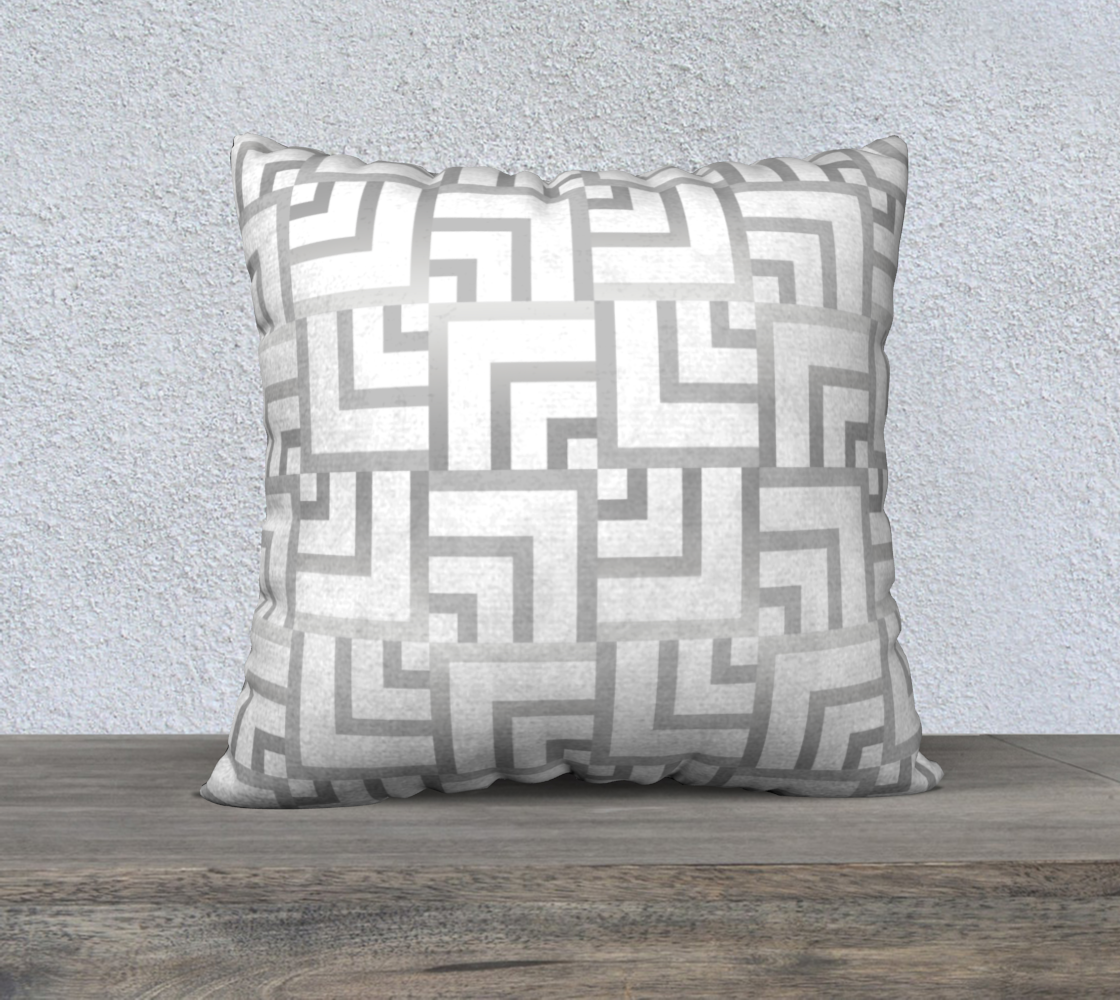 "White and Silver Squares 22"" x 22"" Pillow Case preview"