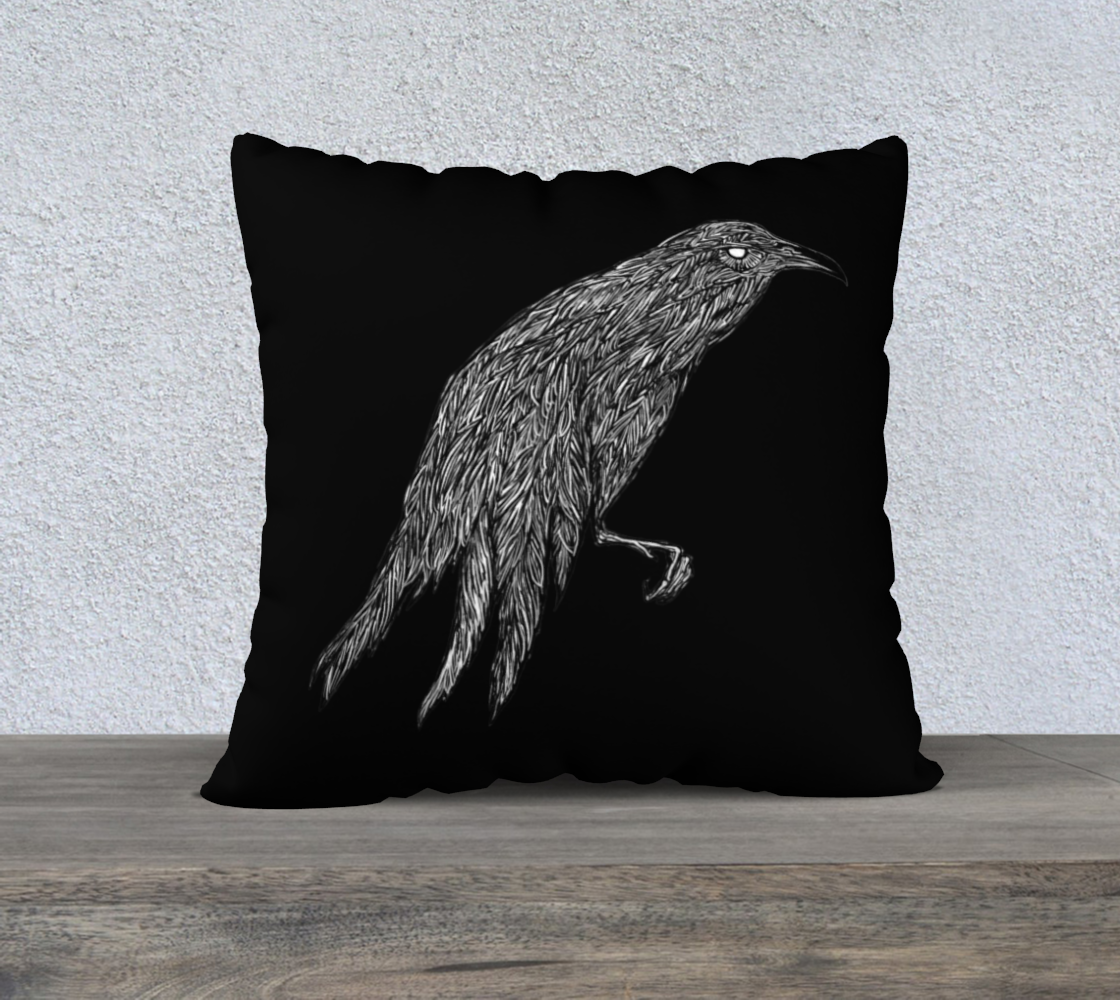 Sitting Raven Black 22x22 Pillow Case preview