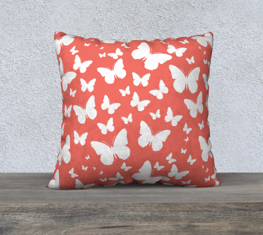 Butterflies in Coral and White Pillow Case 22 preview