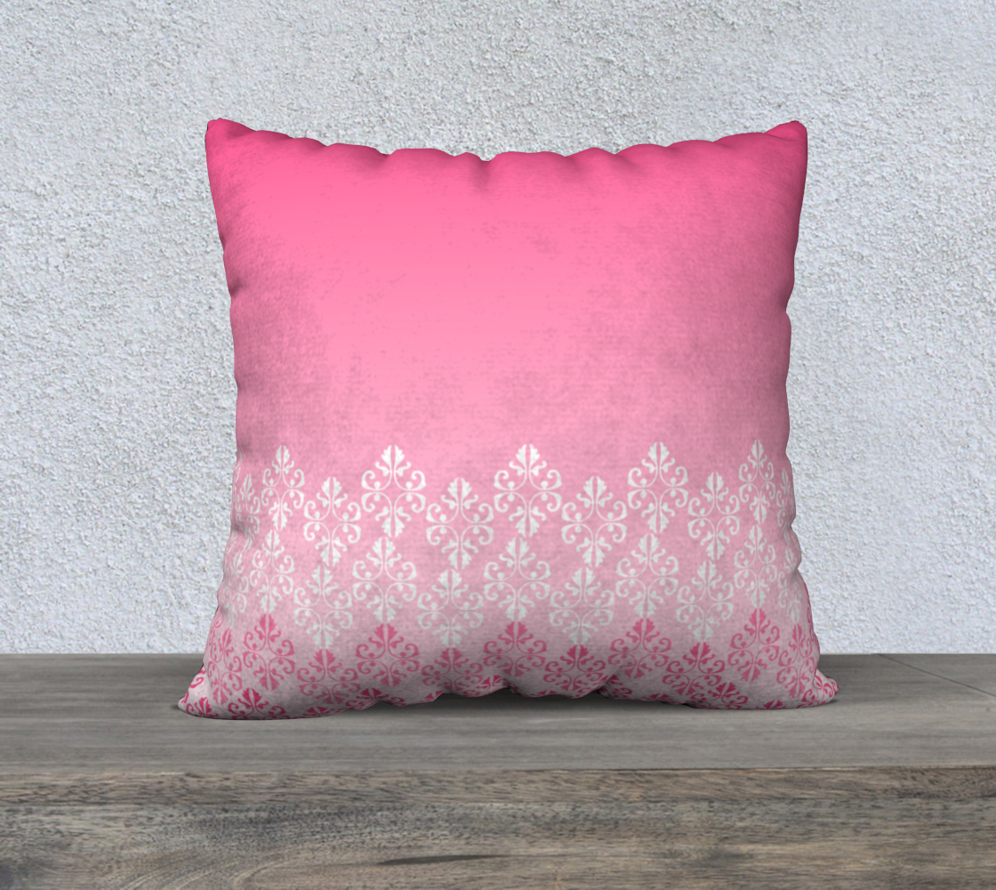 Pink Ombre Damask Pattern Pillow Case 22 preview