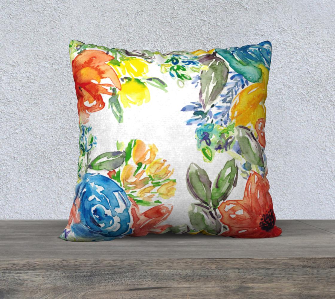 Aperçu de Vibrant Watercolor Floral Pillow Cover