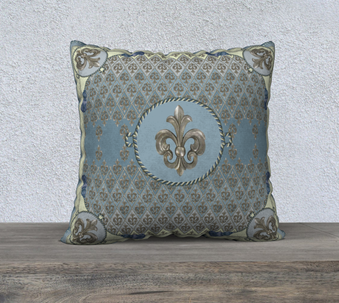 """Pale Blue Fleur D'Lys Square 22"""" Cushion preview"""