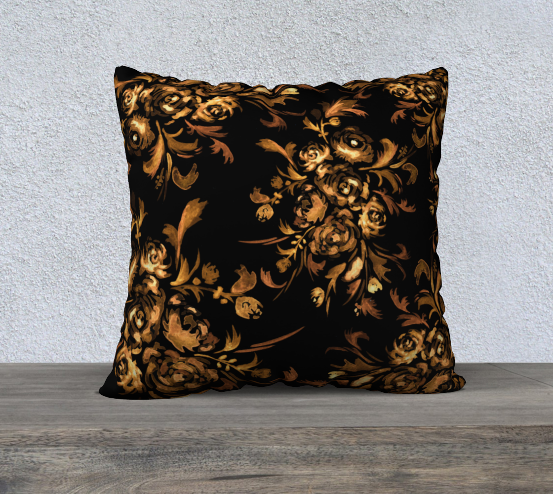 Golden Roses on Black 22x22 Pillow Case preview