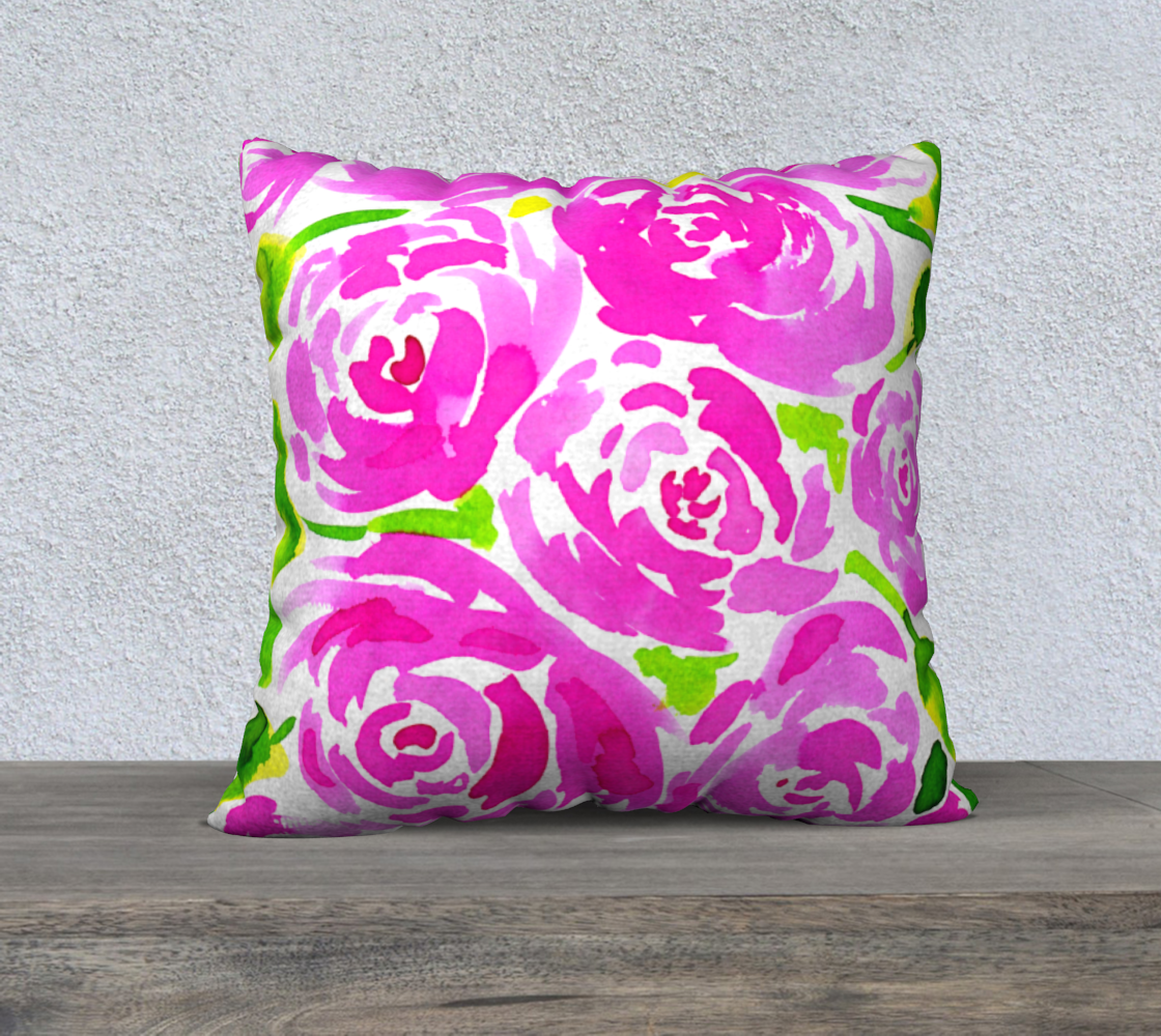 Magenta Roses Floral Pattern 22x22 Pillow Case preview