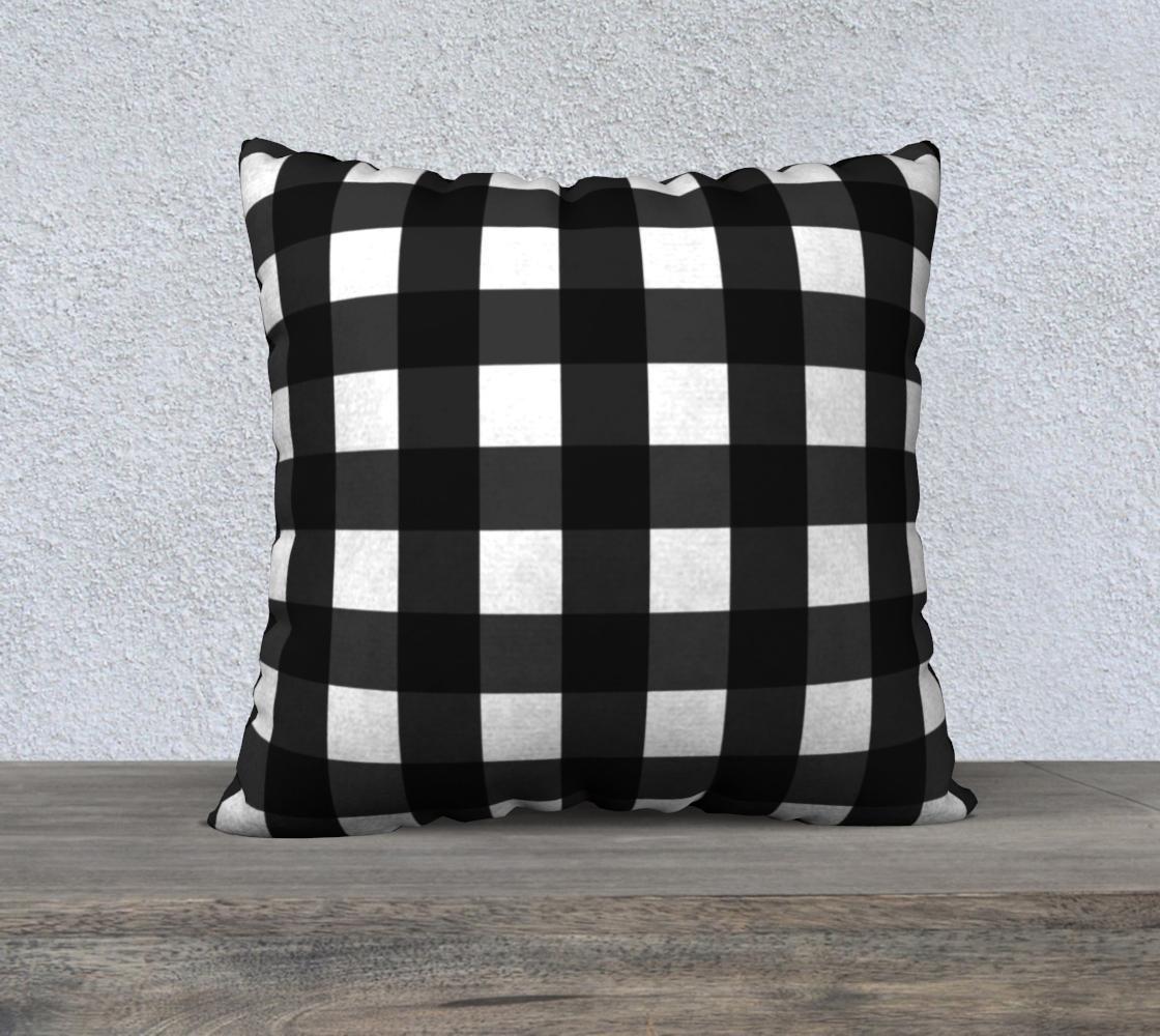 Aperçu de Black and White Gingham Check Pillow 22x22