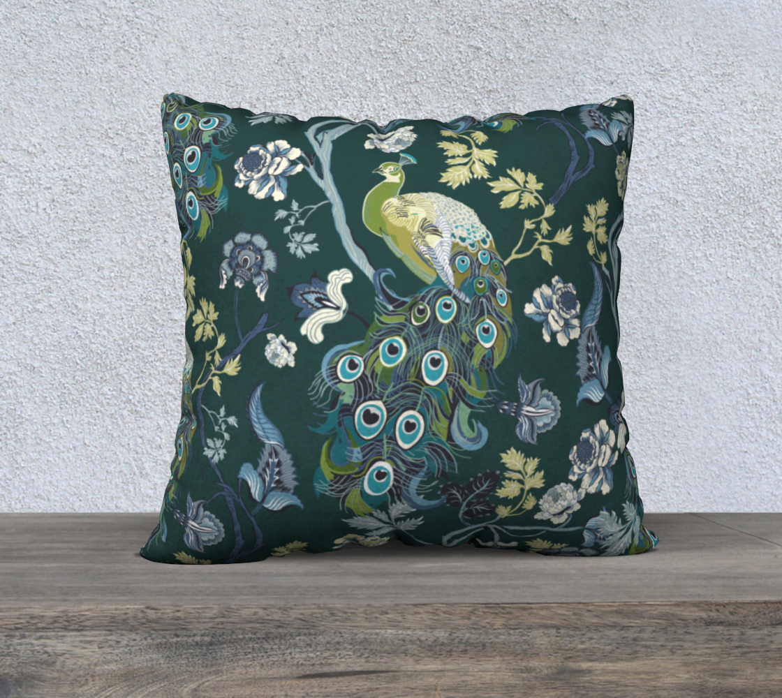 Chinoiserie - peacock teal 22x22 preview