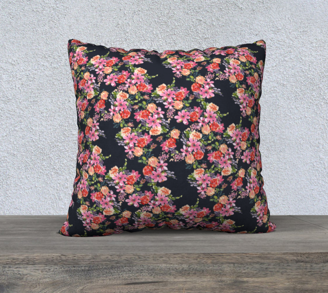 Aperçu de Pink coral floral pillow 22x22