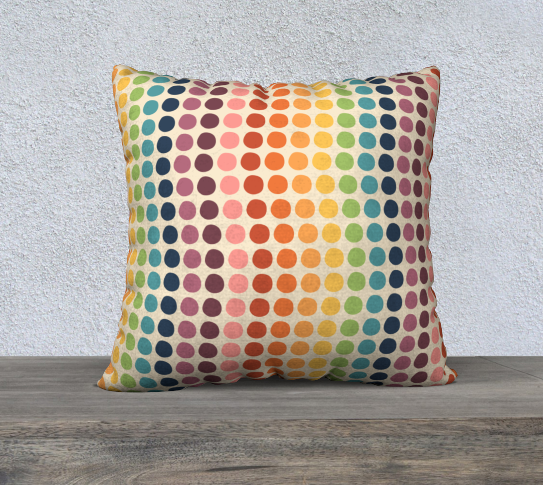 """Wacky Wavy Rainbow Dots Throw Pillow Cover- 22"""" preview"""