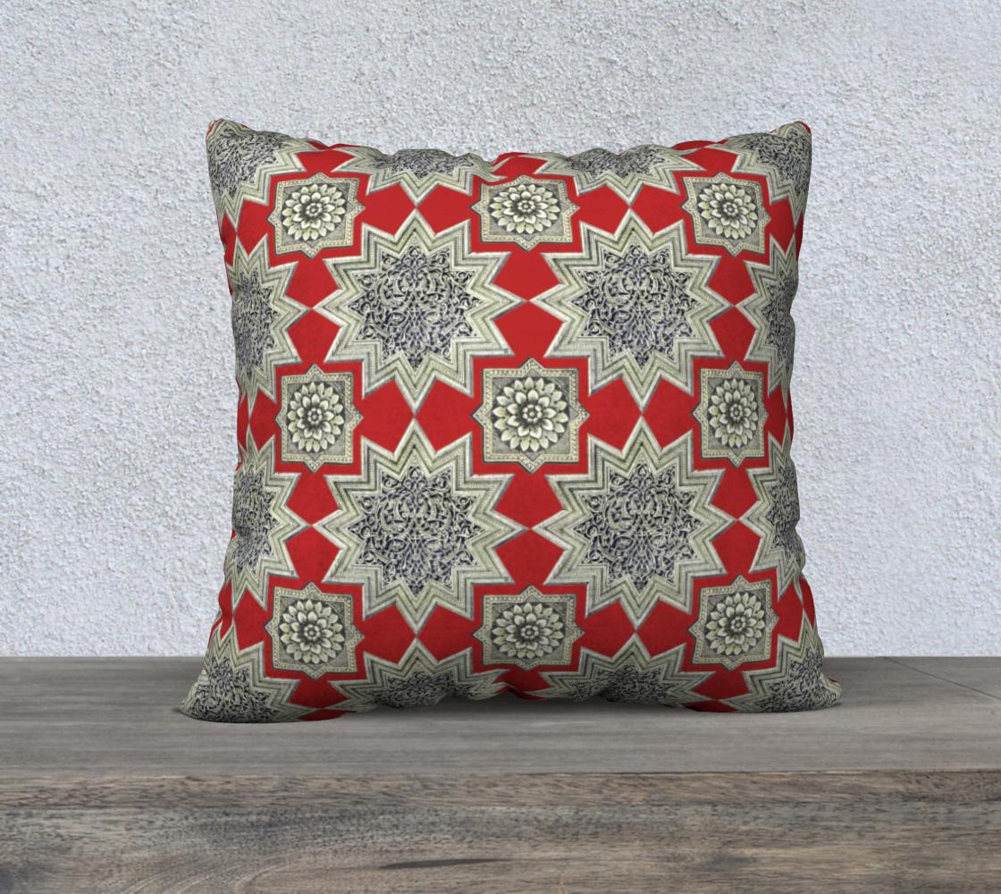 Aperçu de Ornate Star & Rosette Pattern Red 22