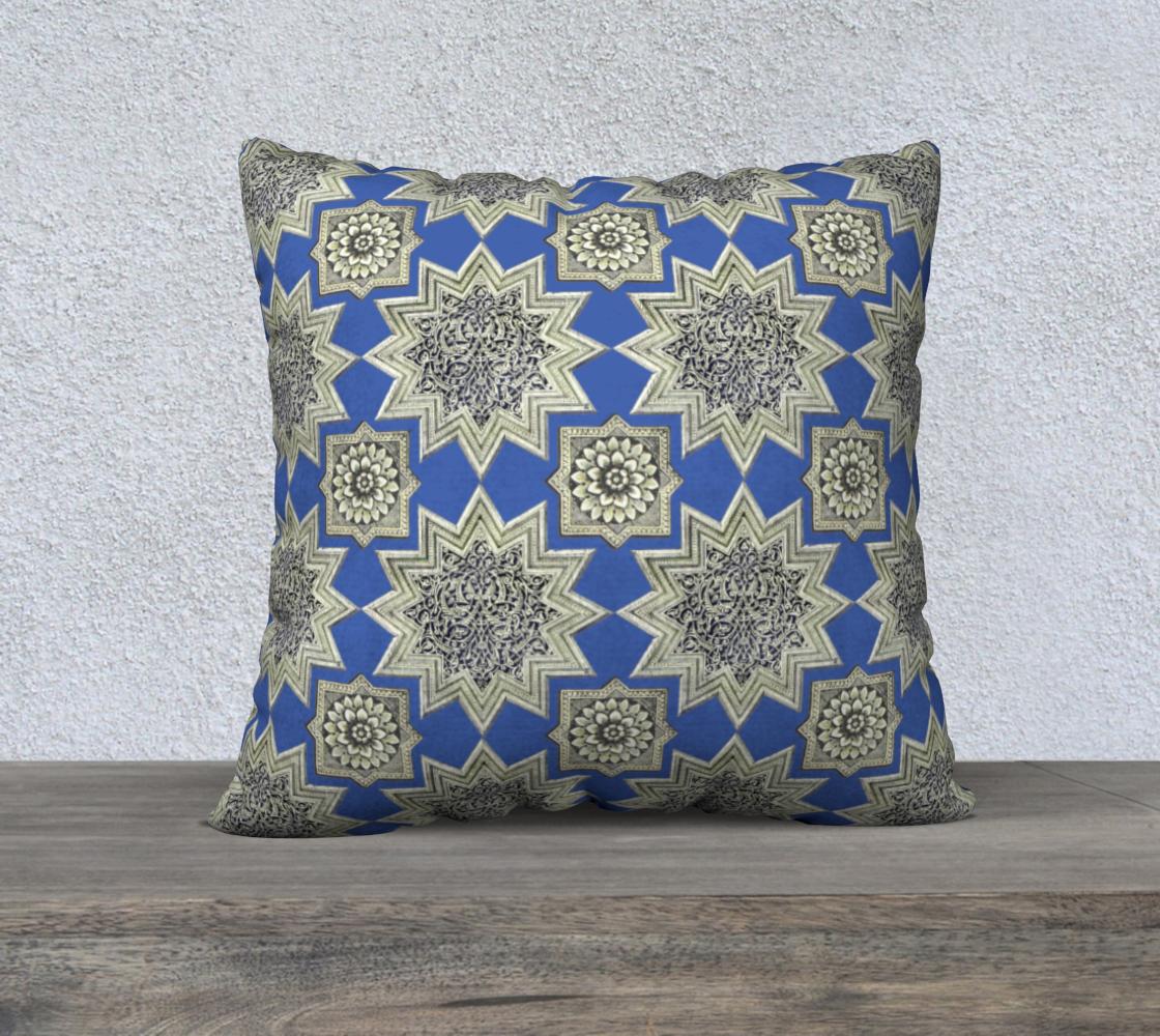 Aperçu de Ornate Star & Rosette Pattern Blue 22