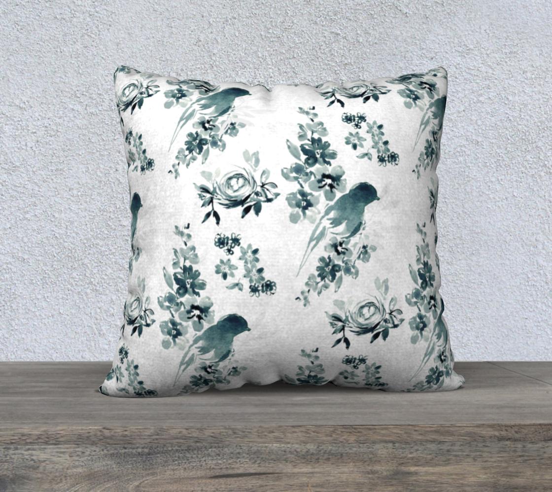 Aperçu de blue and white bird pillow 22x22