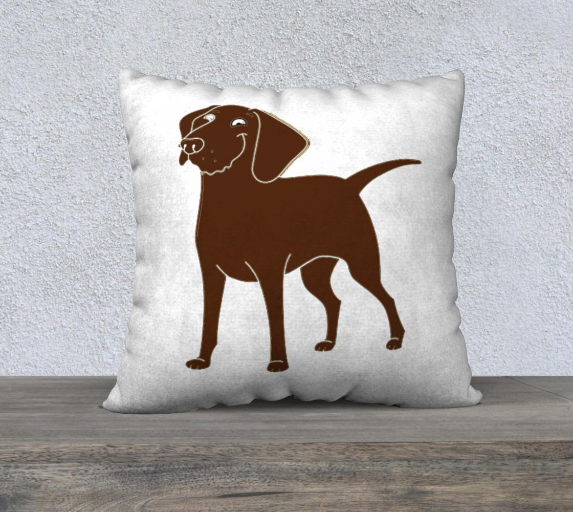 Labrador Retriever chocolate cartoon 22 x 22 pillow case preview
