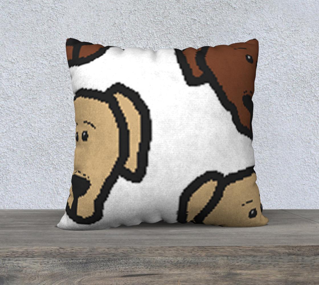 Labrador Retriever all 3 colors cartoon heads 22 x 22 pillow case preview