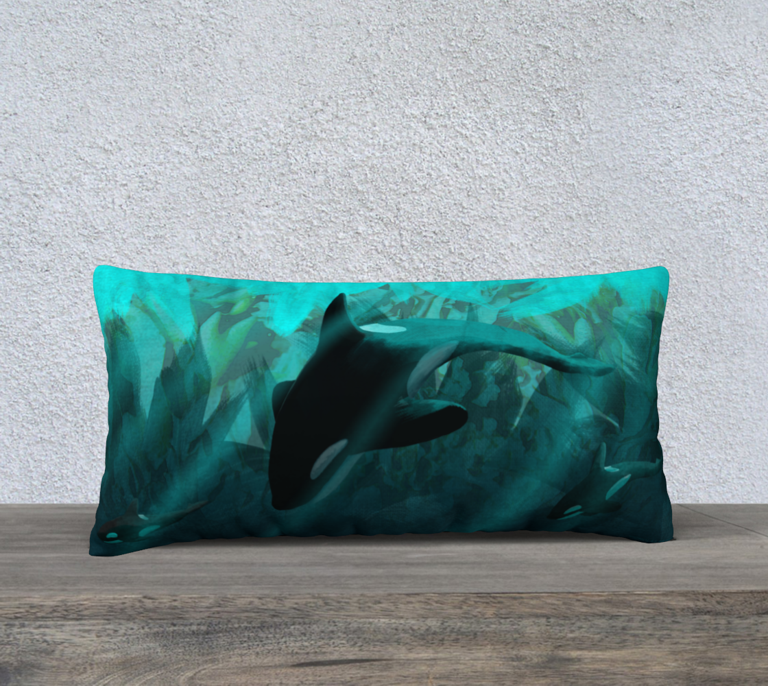 Diving The Depths Orcas Pillow Case preview