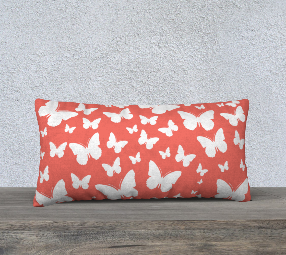 Butterflies in Coral and White Pillow Case 24 preview