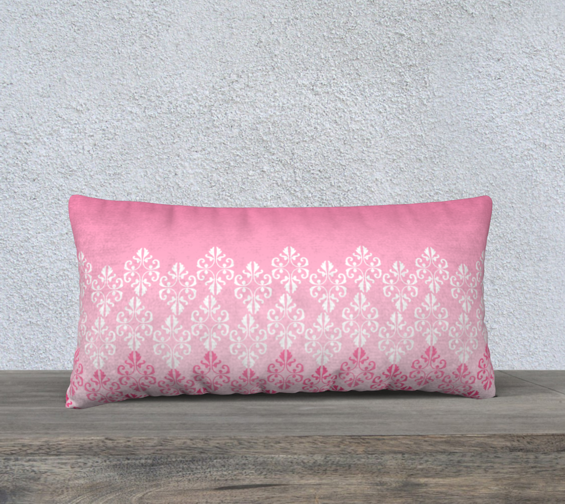 Pink Ombre Damask Pattern Pillow Case 24 preview