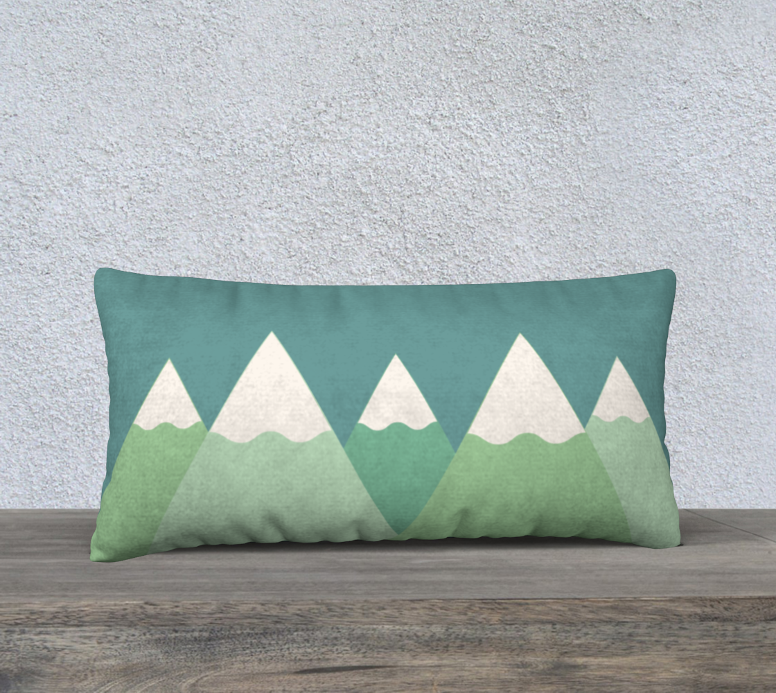 Mountain pillow case with solid teal back preview