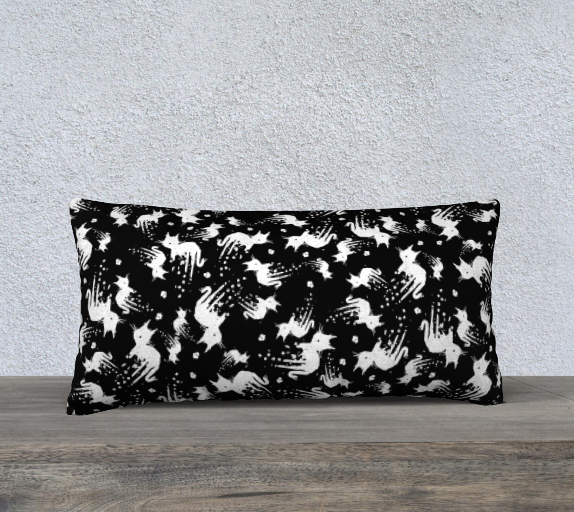 White Drippy Cat Black Pillowcase preview