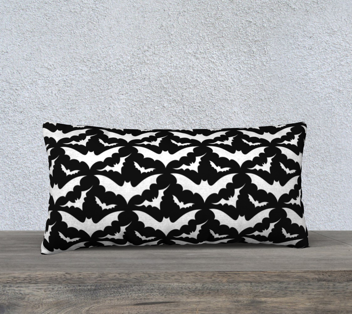 Black and White Bat Pillow Case preview #2