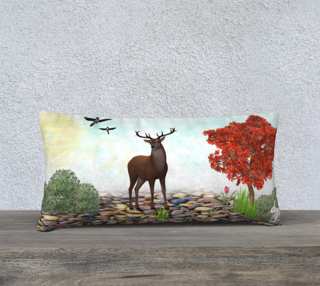 Deer wood pillow preview