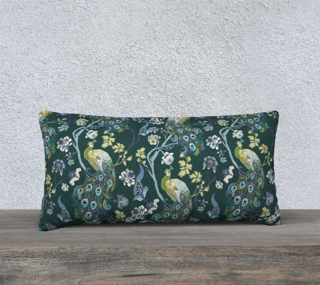 Chinoiserie - peacock teal 24x12 preview