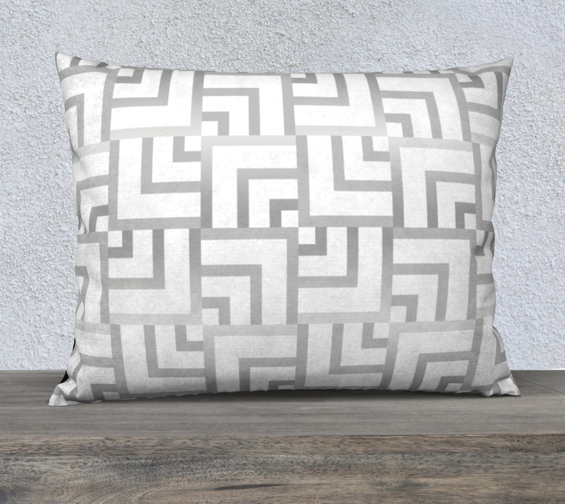 """White and Silver Squares 26"""" x 20"""" Pillow Case preview"""
