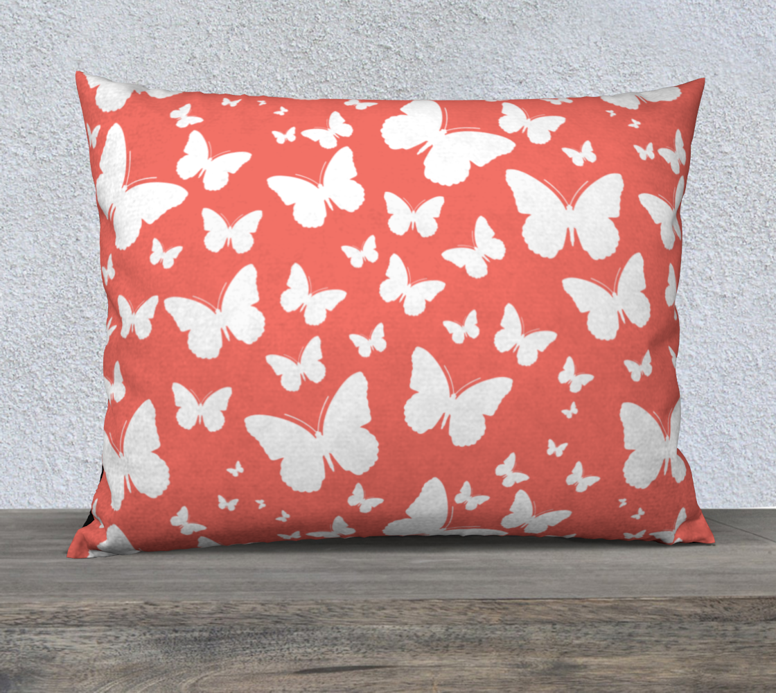 Butterflies in Coral and White Pillow Case 26 preview