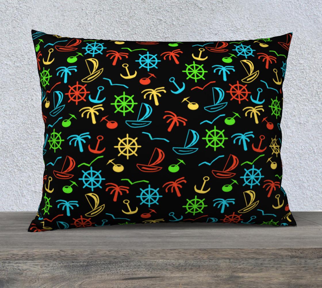 Collored sea pattern on black Pillow Case aperçu