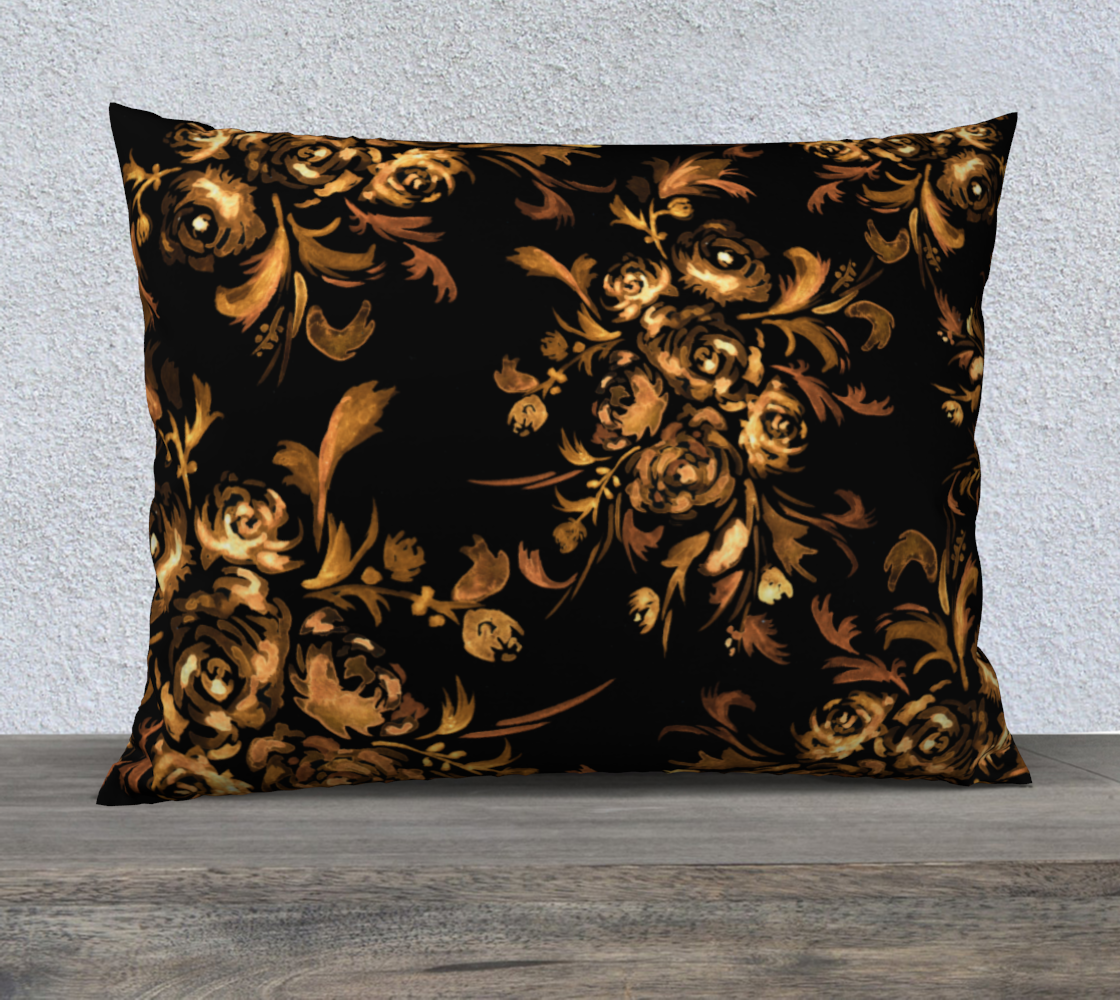 Golden Roses on Black 26x20 Pillow Case preview