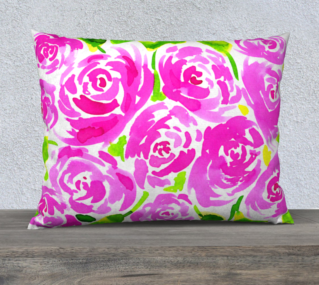 Magenta Roses Floral Pattern 26x20 Pillow Case preview