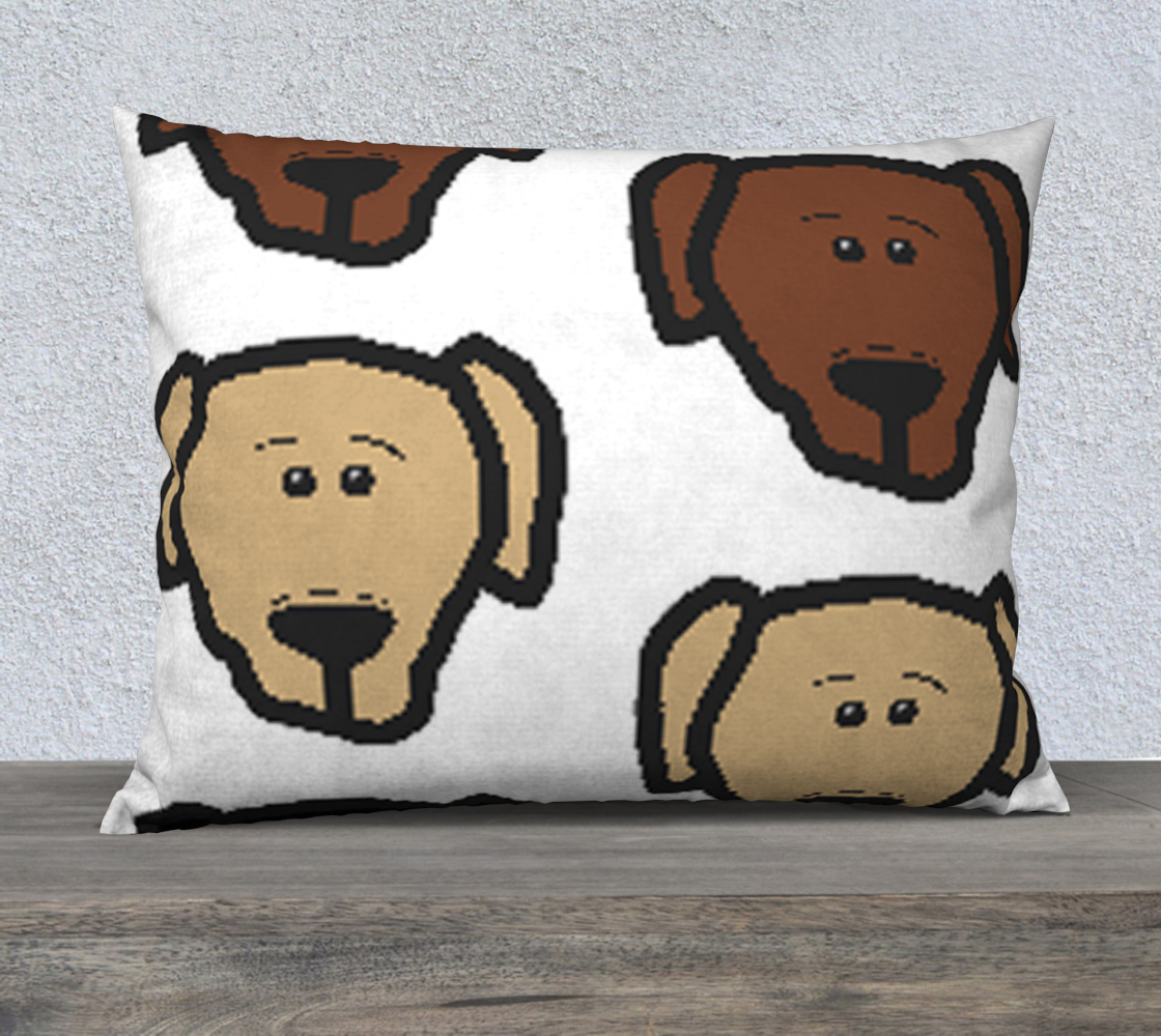 Labrador Retriever all 3 colors cartoon heads 26 x 20 pillow case preview