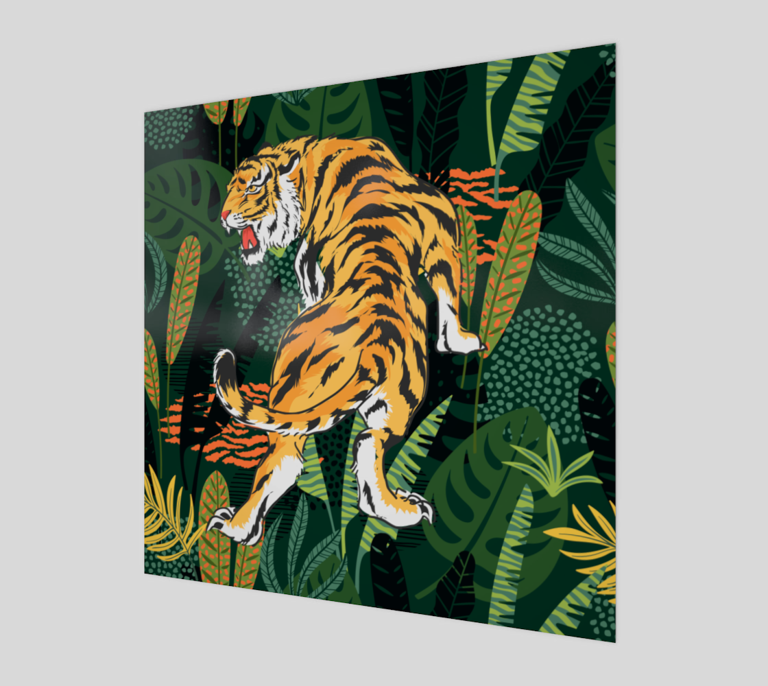 Tiger illustration throw tropical leaves  preview