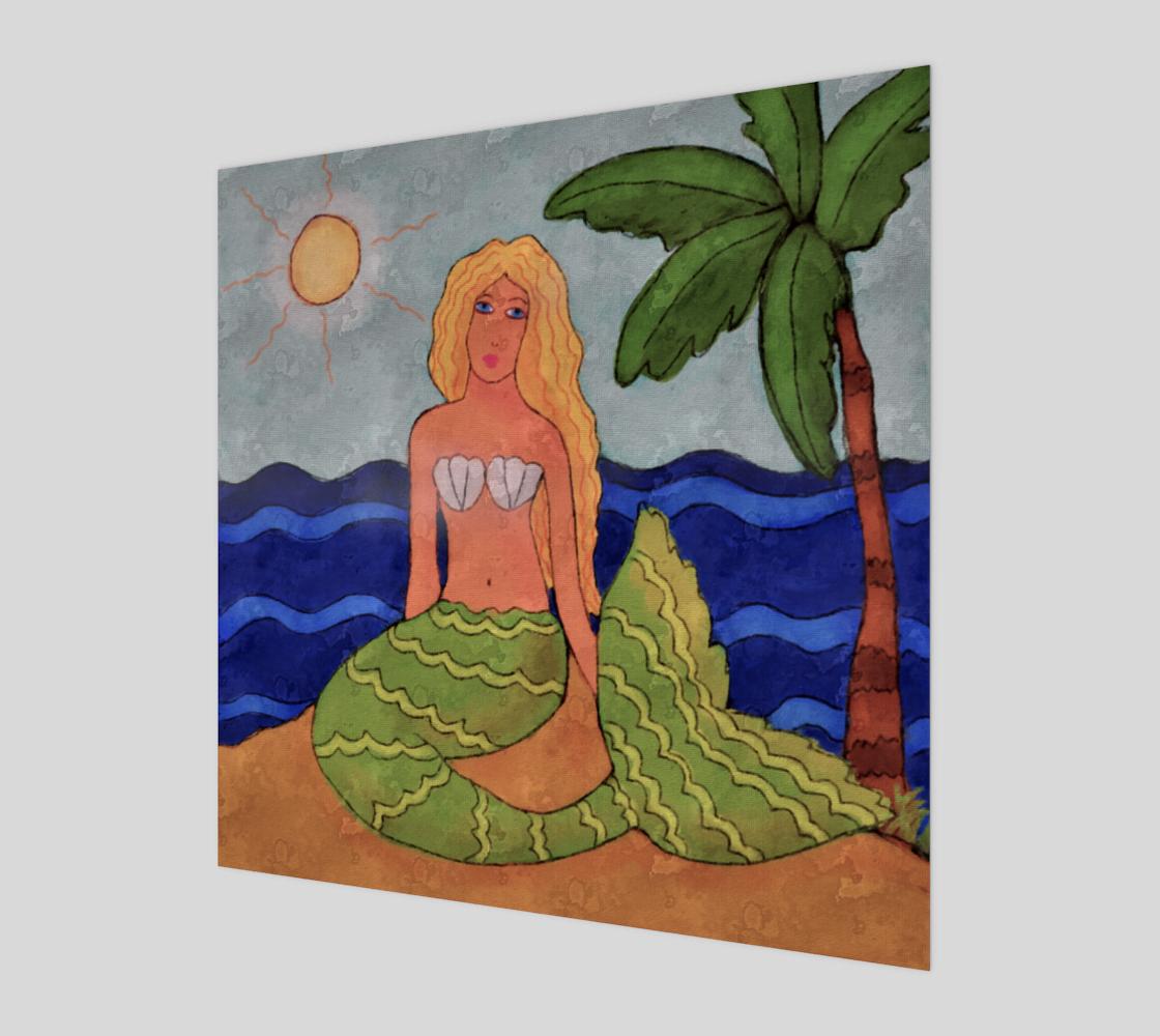 Aperçu de Mermaid and Palm Tree Abstract Painting