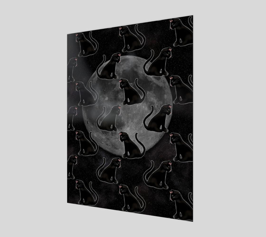 Aperçu de Black Cats Full Moon Art Print