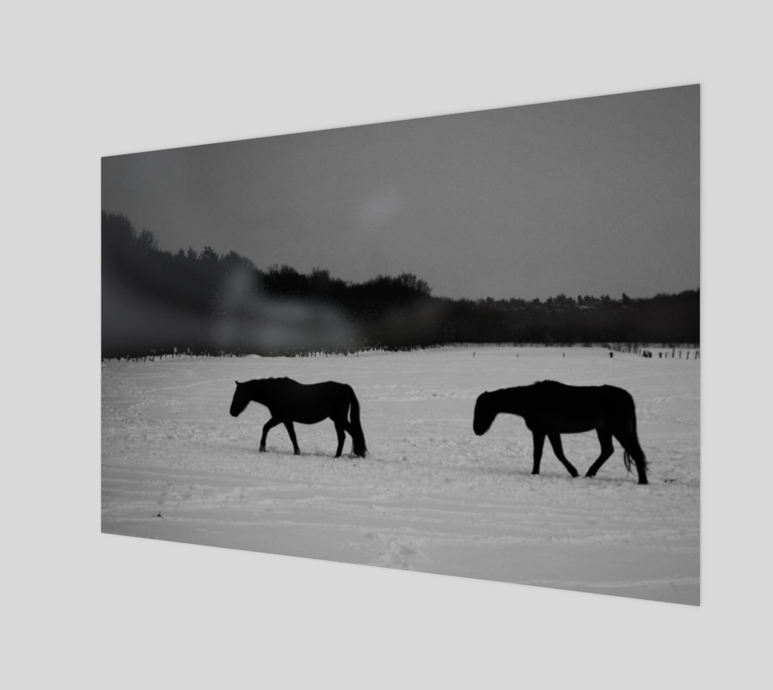 Horses On Snow Wood Print preview