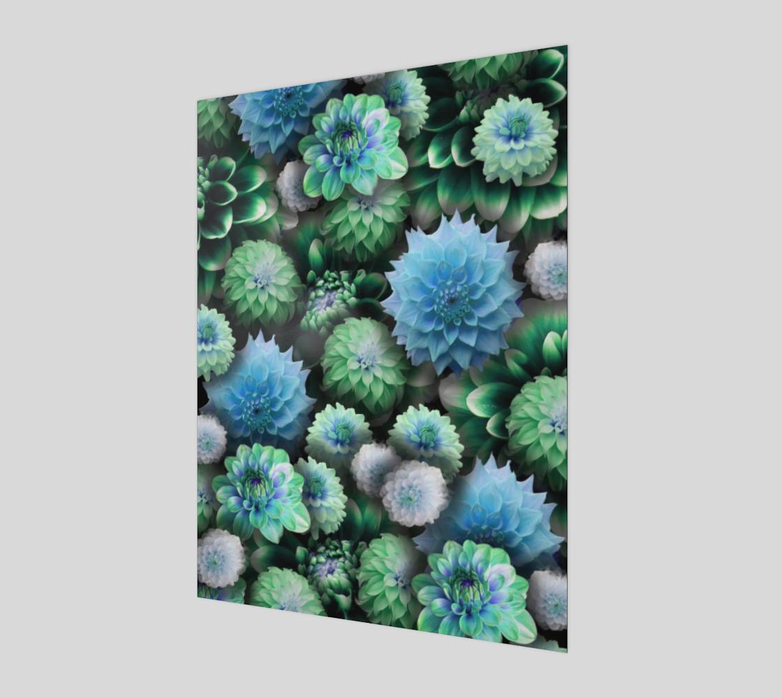 Aperçu de Blue Green Dahlias Art Print