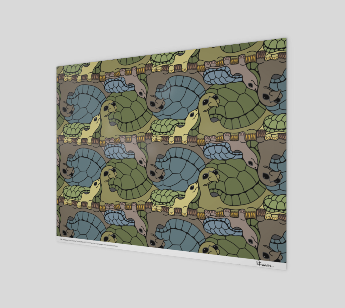 Olie the Tortoise and Daughter, a tessellation by Francine Champagne preview