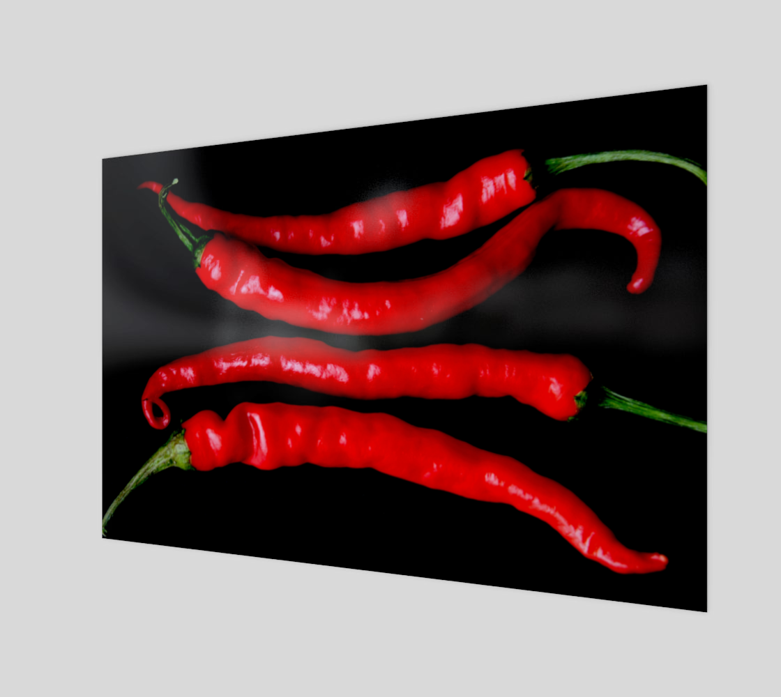 Four Red Chilies Art Print preview
