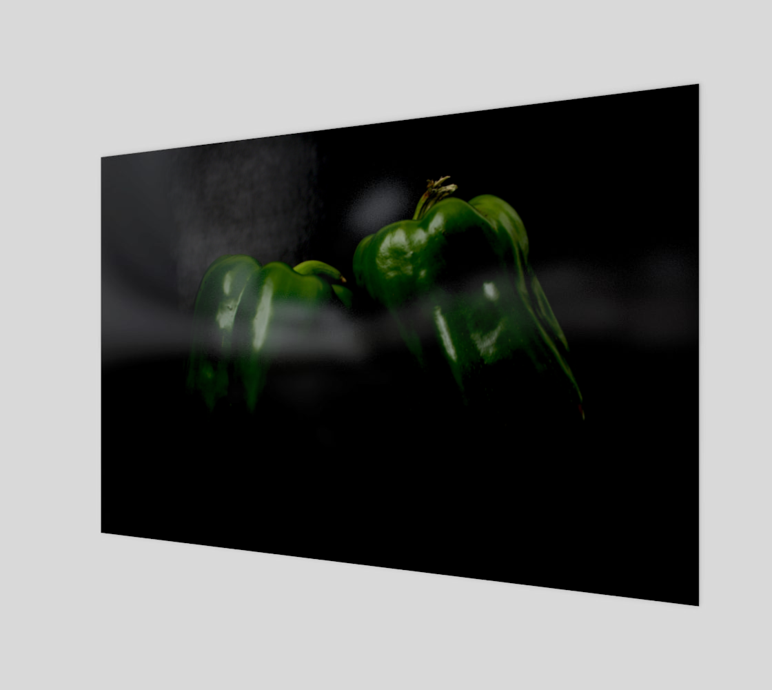 Two Green Peppers Wood Print preview