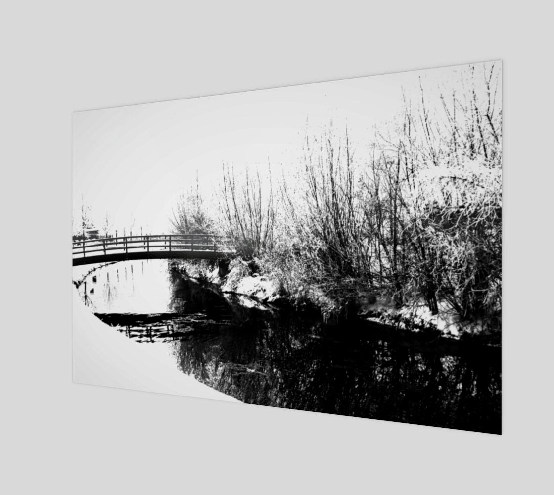 Bridge and Stream Winter Scene Wood Print preview