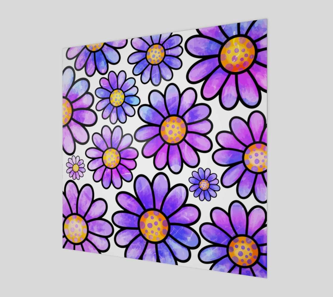 Lilac Watercolor Doodle Daisy Flower Pattern preview