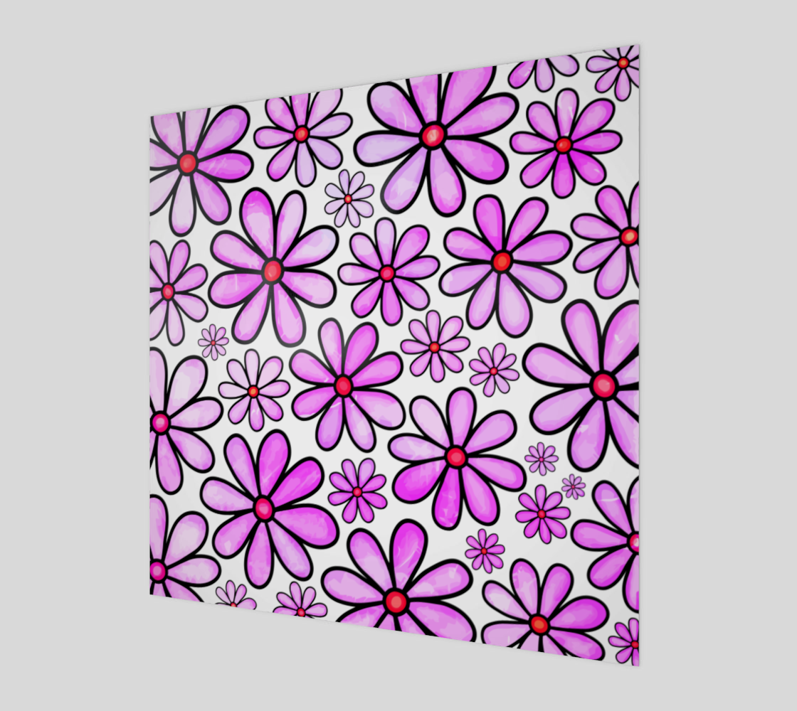Pink Watercolor Doodle Daisy Flower Pattern preview