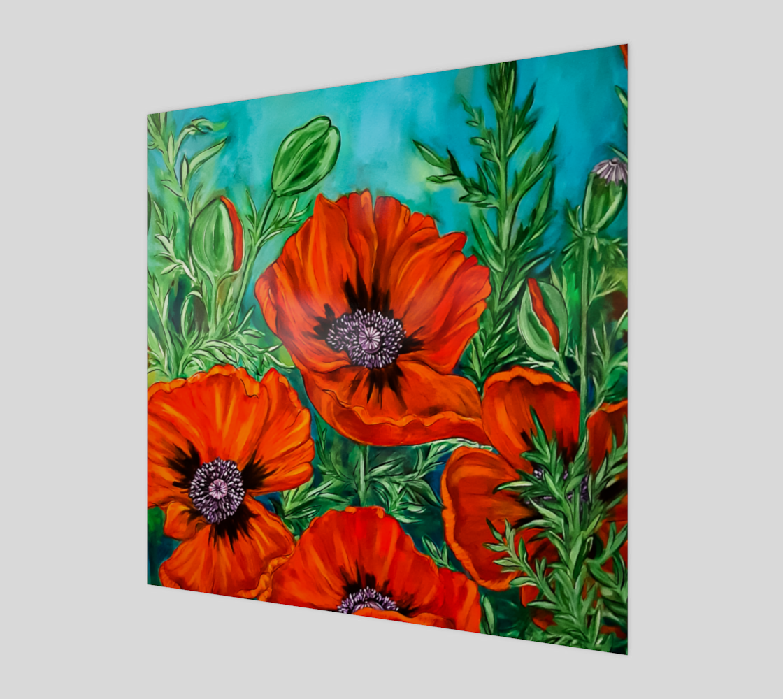 Big Bold Red Poppies Wood Print Art preview