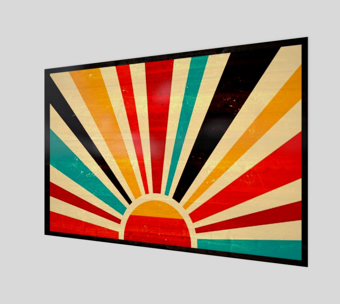 Retro sunrise wooden geometric wall art preview